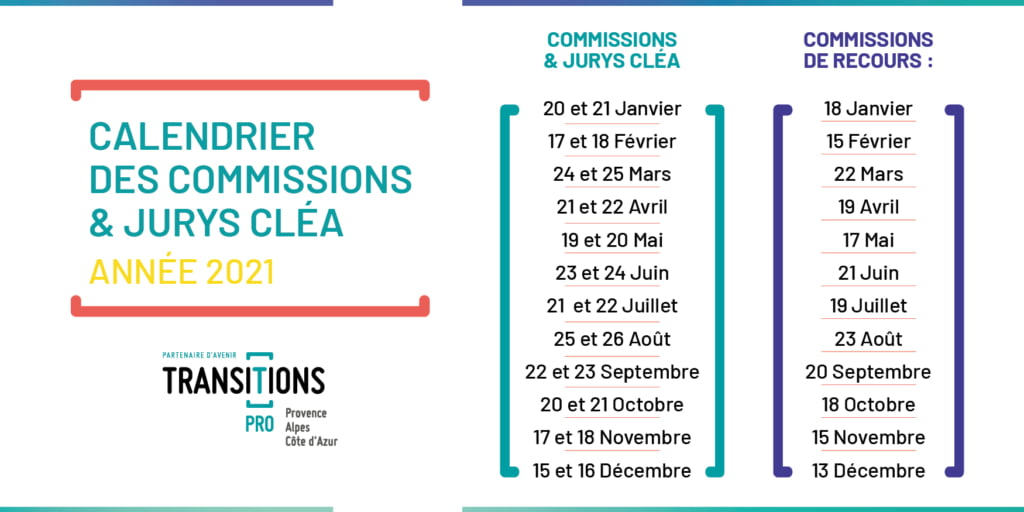 Calendrier des Commissions Transitions Pro PACA 2021